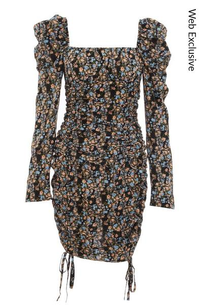 Black Floral Puff Sleeve Bodycon Dress